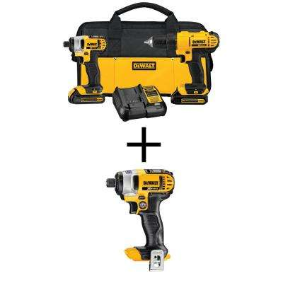 20-Volt MAX Lithium-Ion Cordless Drill/Driver and Impact Combo Kit (2-Tool) with Free 1/4 in. Impact Driver (Tool-Only)