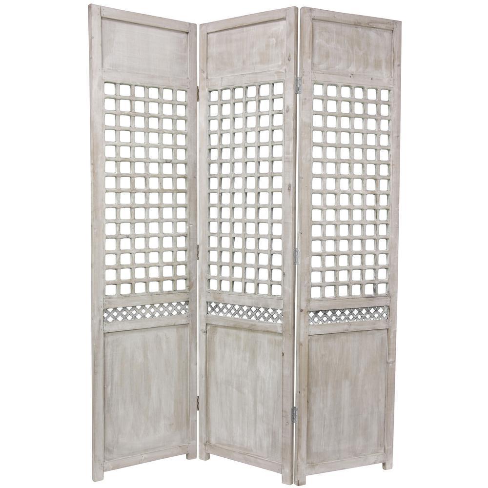 6 ft Gray 3 Panel Open Lattice Room Divider MN SCRN2 The Home Depot