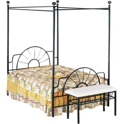 Black Metallic Full Size Canopy Bed with Starburst Style Headboard and Footboard