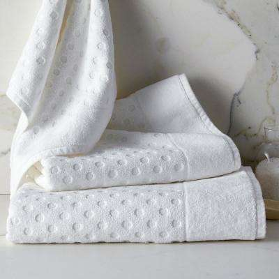 Dot Supima Cotton Single Bath Towel in White