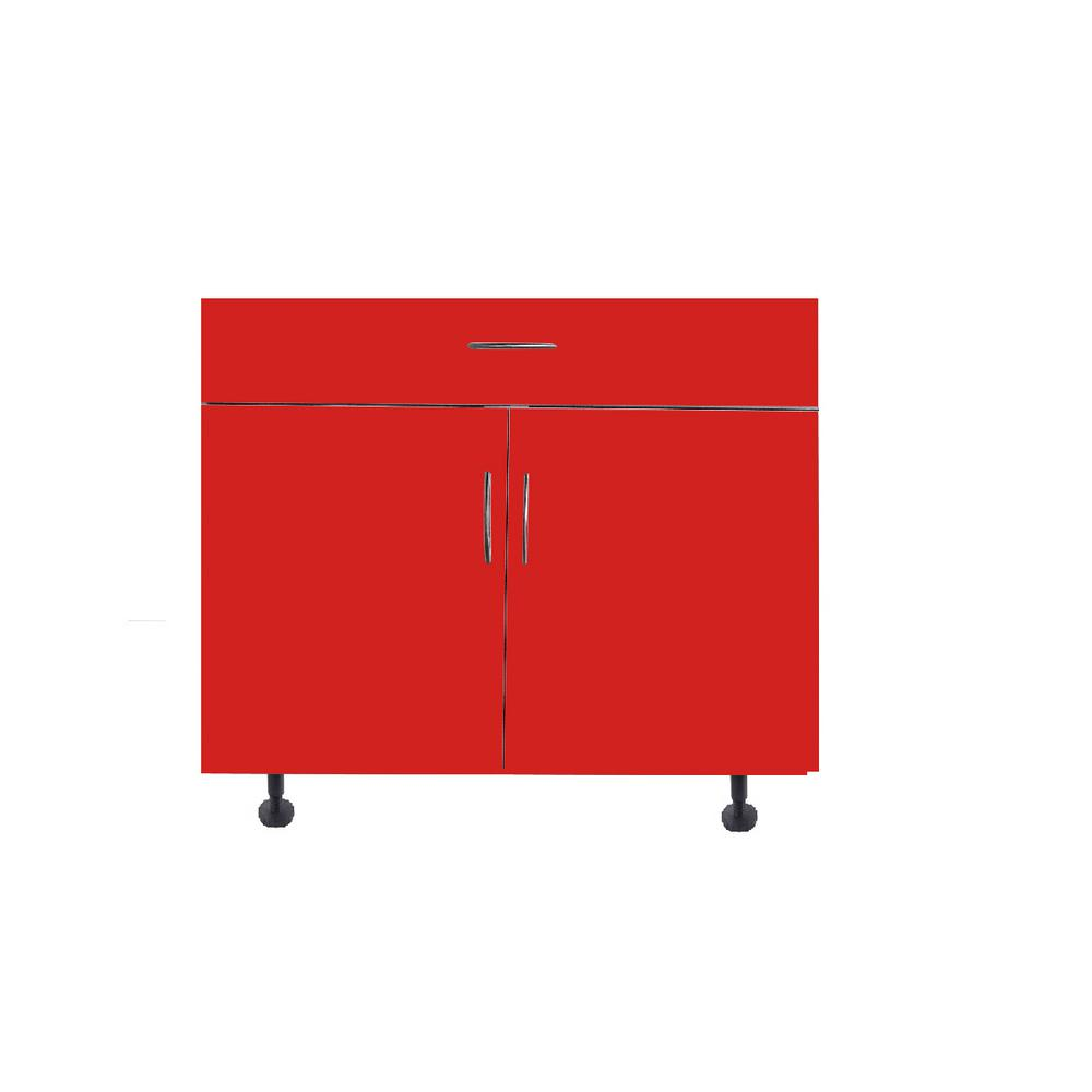 Hampton Bay San Juan Series Assembled 36x34 5x24 In Sink Base Cabinet Made Of High Density Pvc In Red Color Ga Sb36c Red The Home Depot