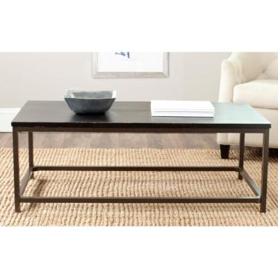 Alec 48 in. Distressed Black Large Rectangle Wood Coffee Table