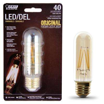 40W Equivalent T10 Dimmable LED Clear Glass Vintage Edison Light Bulb With Vertical Filament Soft White (12-Pack)