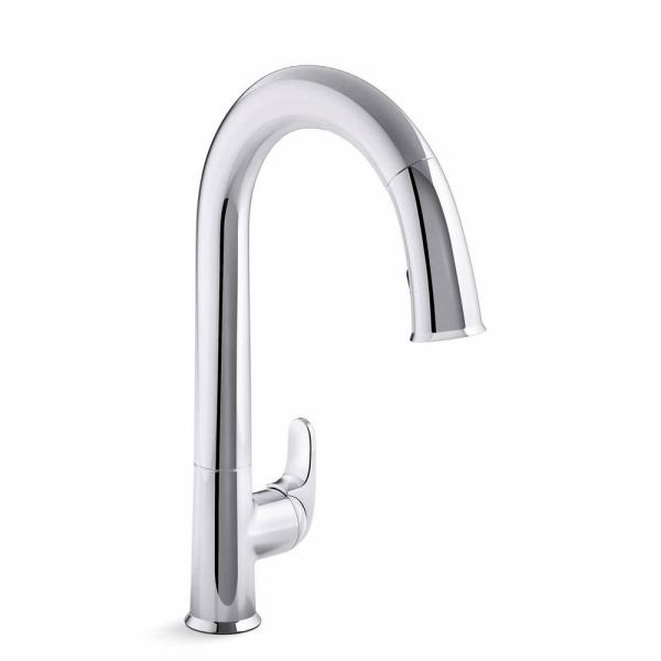 High Arc Single Hole Faucet Speakman SB-2141 Chelsea Single Handle Kitchen Faucet with Pull Down Sprayer Polished Chrome Modern Kitchen Sink Fixture