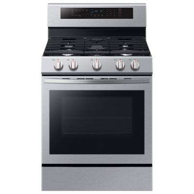 30 in. 5.8 cu. ft. Single Oven Door Gas Range with Illuminated Knobs with True Convection Oven in Stainless Stee