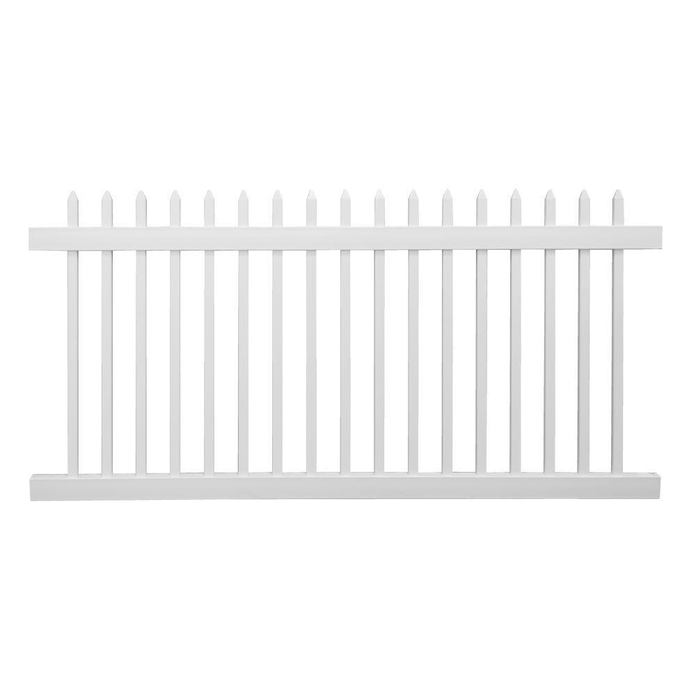 Abbington 4 ft. H x 8 ft. W White Vinyl Picket Fence Panel