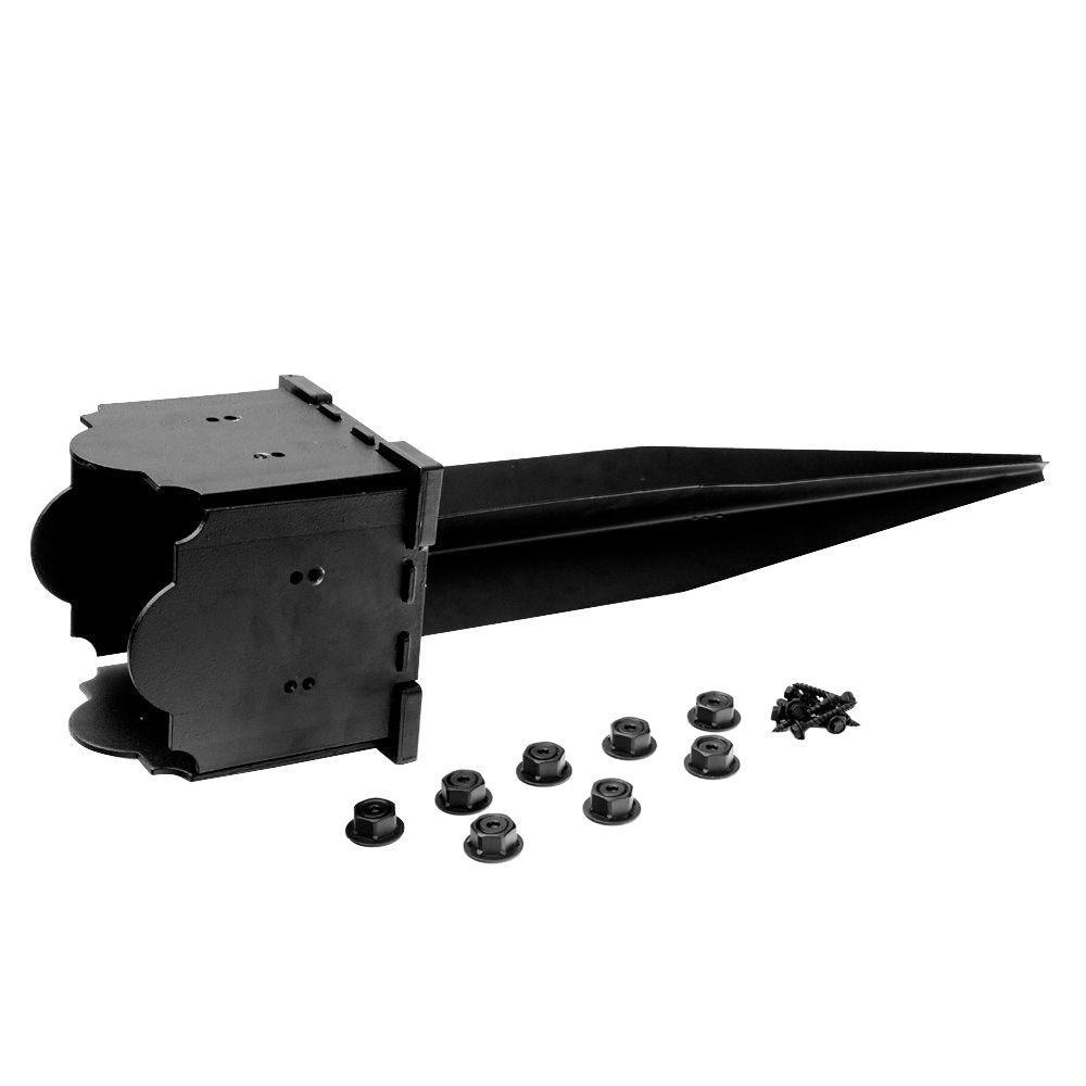 35-1/2 in. x 8 in. x 8 in. Laredo Sunset Black Galvanized Steel Post Base and Anchor Kit