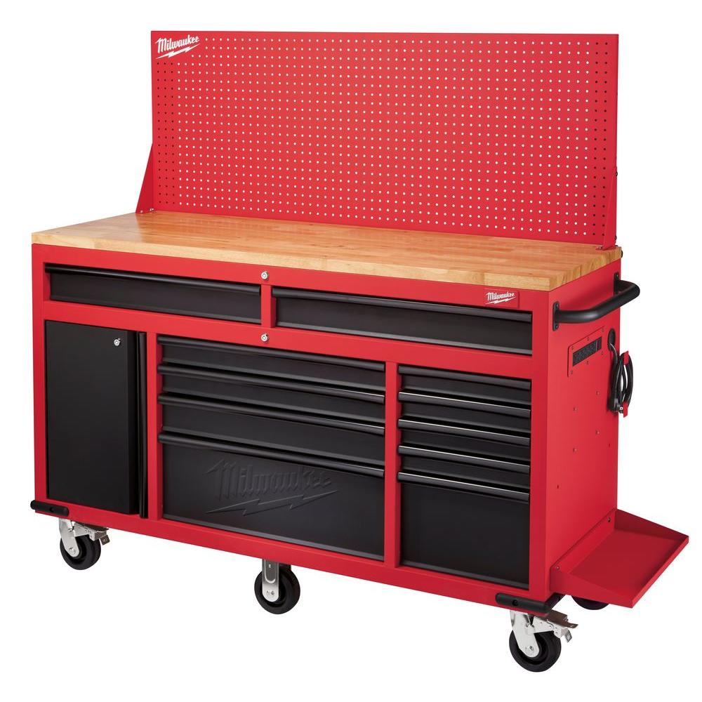 Milwaukee In 11 Drawer And 1 Door 22 In D Mobile Workbench With Sliding Pegboard Back
