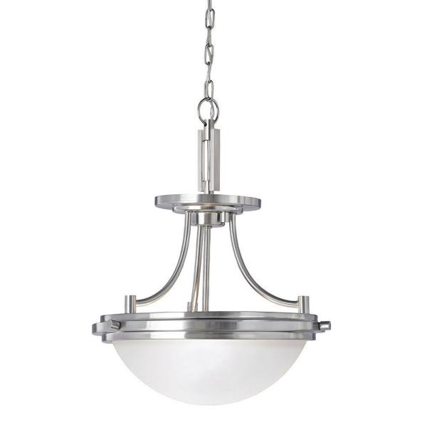 Winnetka 2-Light Brushed Nickel Semi-Flush Mount Convertible Pendant