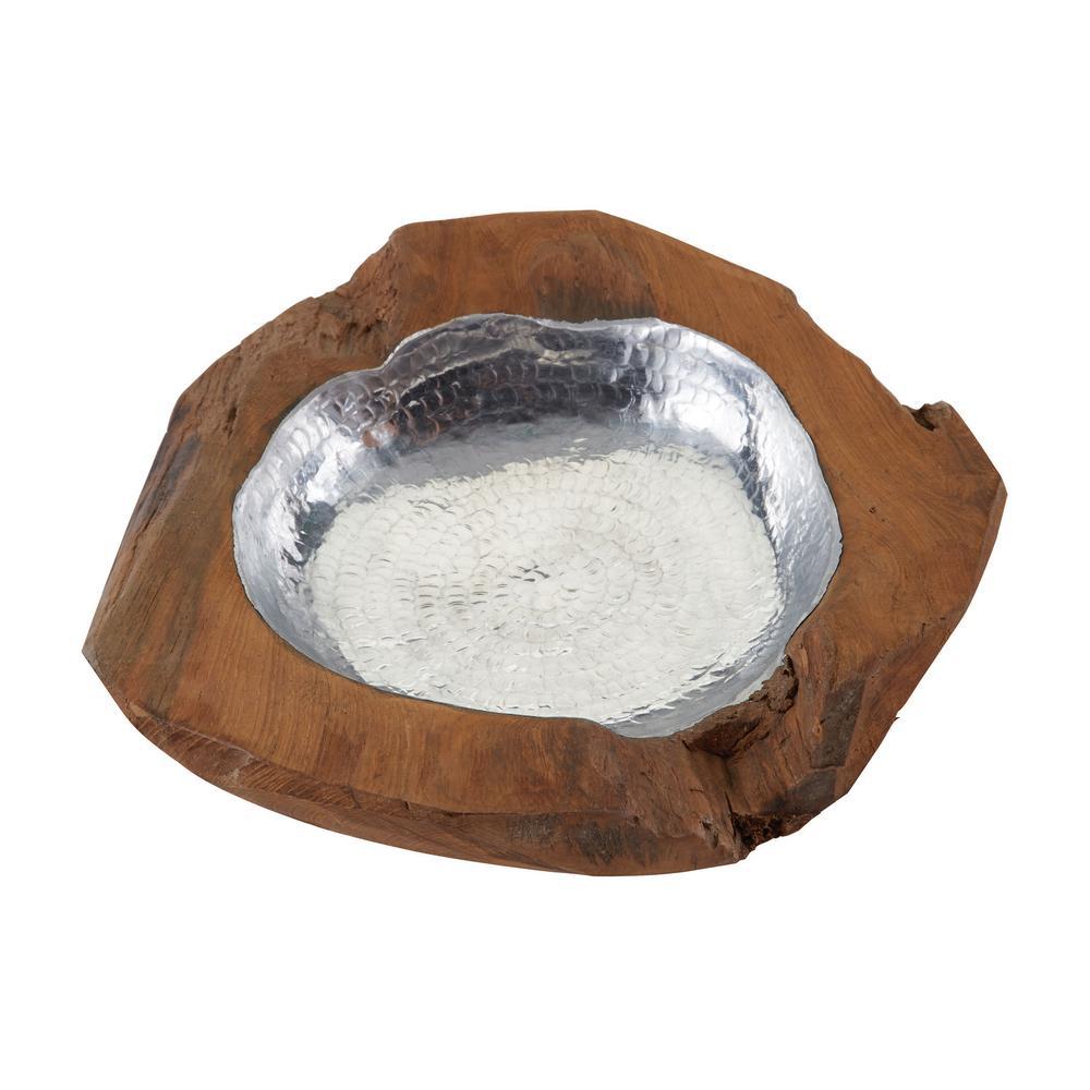 Small Round Teak Bowl with Aluminum