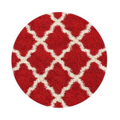 Bella Collection Red 5 ft. x 5 ft. Round Area Rug