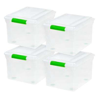 34-Qt. Store and Slide File Storage Box in Clear with Green Handle (4-Pack)