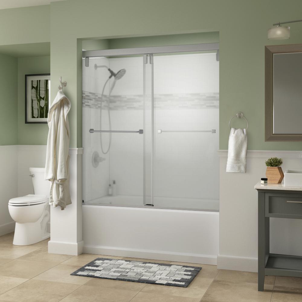 Everly 60 in. x 59-1/4 in. Semi-Frameless Mod Sliding Tub Door in Nickel with 3/8 in. (10mm) Niebla Glass