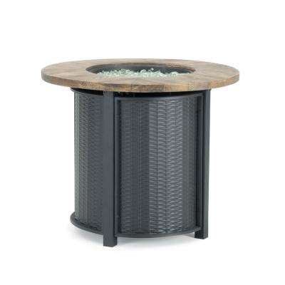 Logan 30 in. x 25 in. Round Powder-Coated Steel Propane Fire Pit Table in Black with Storage Cover