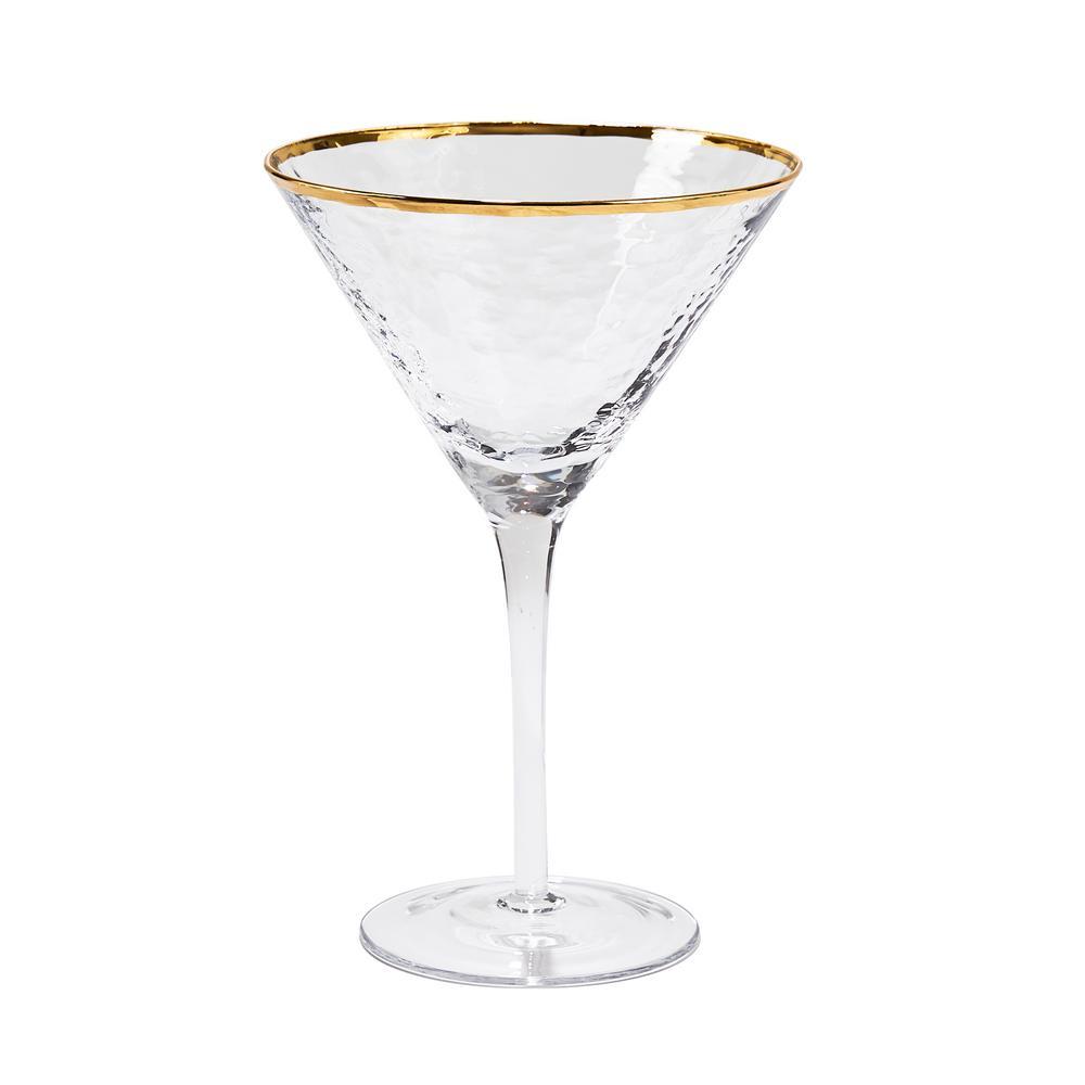 8 oz. Metallic Gold Rim Martini Glass (Set of 4)