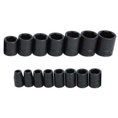 1/2 in. Drive 6-Point Impact Socket Set (15-Piece)
