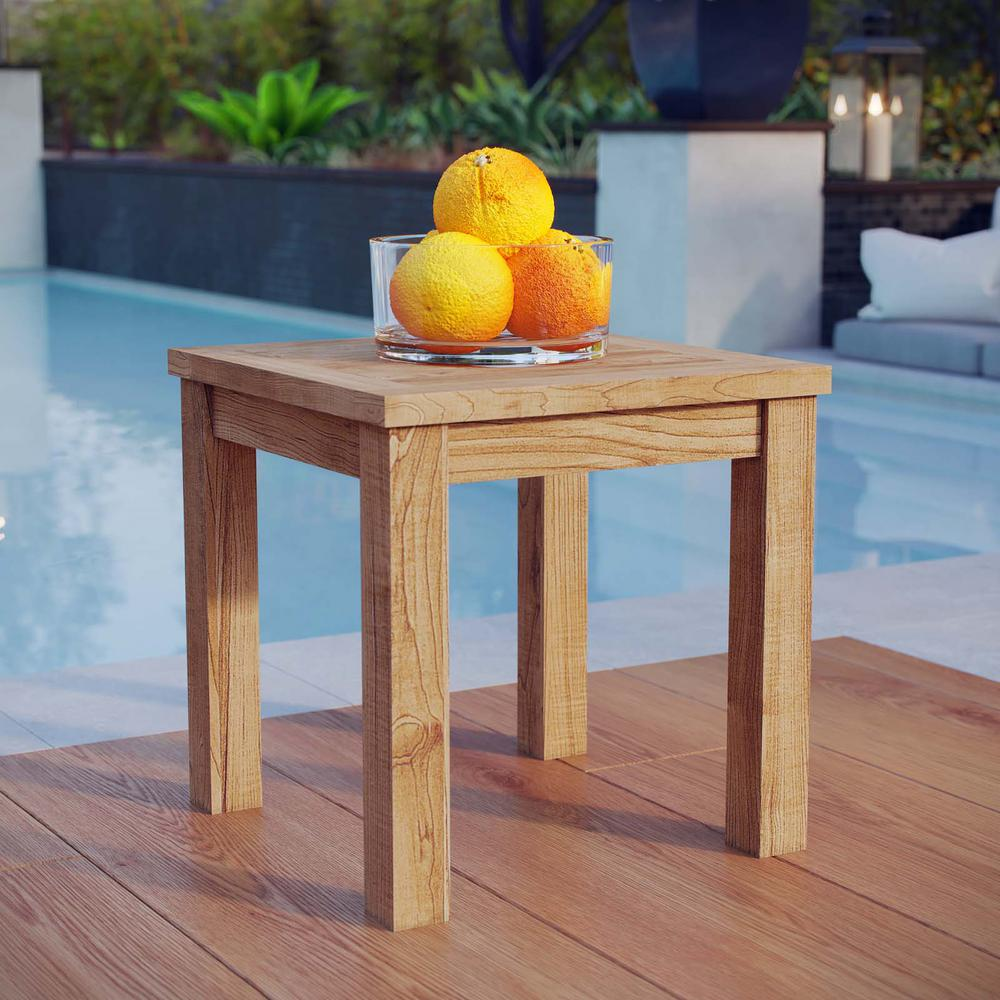 MODWAY Marina Teak Patio Outdoor Side Table in Natural