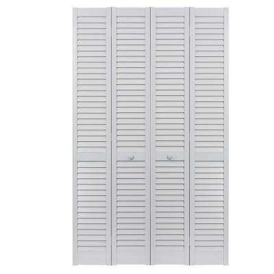 60 in. x 80 in. Seabrooke Louver/Louver White Hollow Core PVC Vinyl Interior Bi-Fold Door