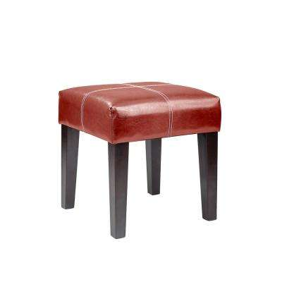 "Antonio 16"" Square Bench in Red Bonded Leather"