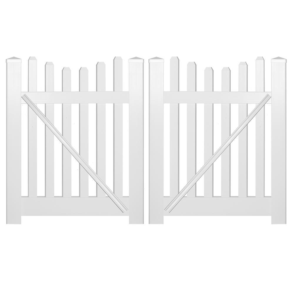 Hampshire 8 ft. W x 3 ft. H White Vinyl Picket Fence Double Gate Kit