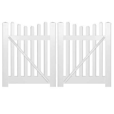 Hampshire 8 ft. W x 4 ft. H White Vinyl Picket Fence Double Gate Kit