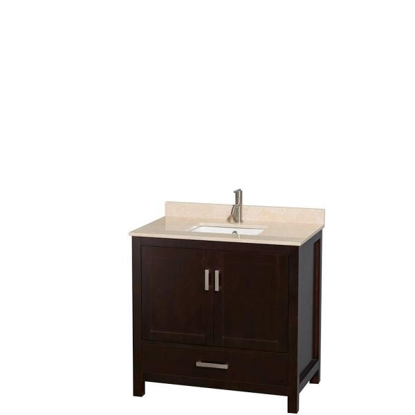 Undermount Oval Sinks Wyndham Collection Sheffield 60 inch Double Bathroom Vanity in Espresso and 58 inch Mirror Ivory Marble Countertop