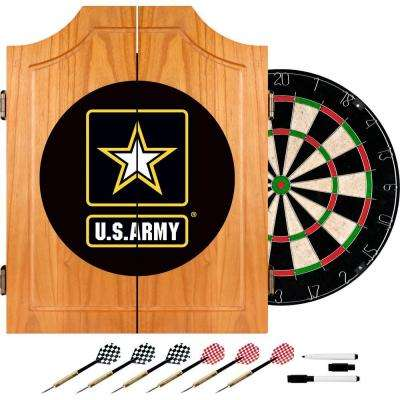 U.S. Army Wood Finish Dart Cabinet Set