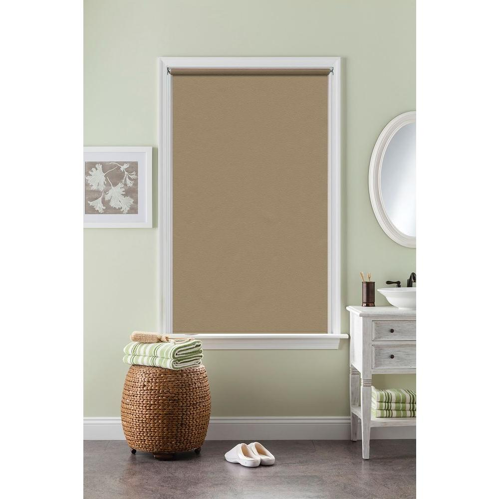 Bali Cut-to-Size Fawn Cordless Decorative Room Darkening Vinyl Roller Shade - 33.75 in. W x 72 in. L