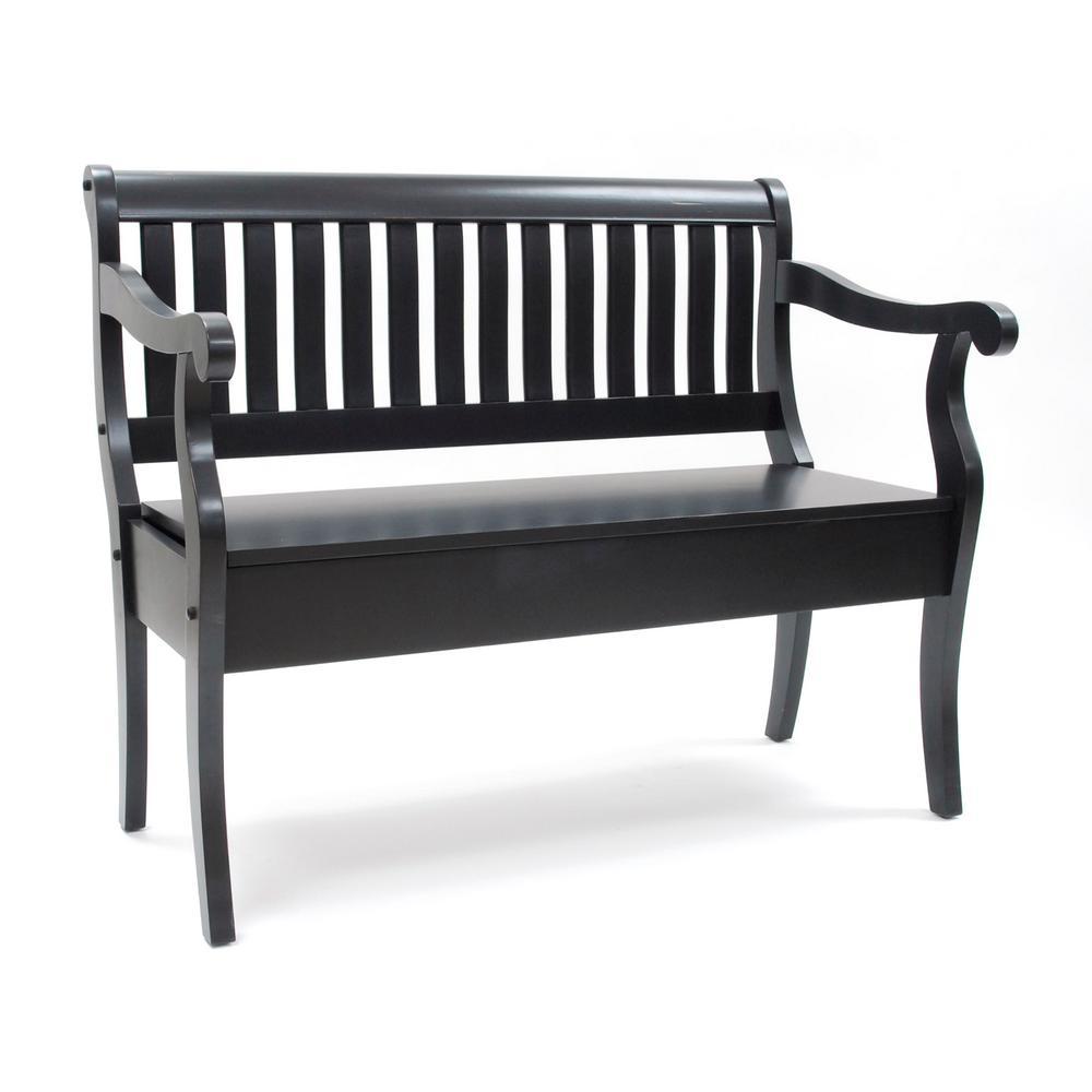 Awe Inspiring Veranda Antique Black Storage Bench Theyellowbook Wood Chair Design Ideas Theyellowbookinfo