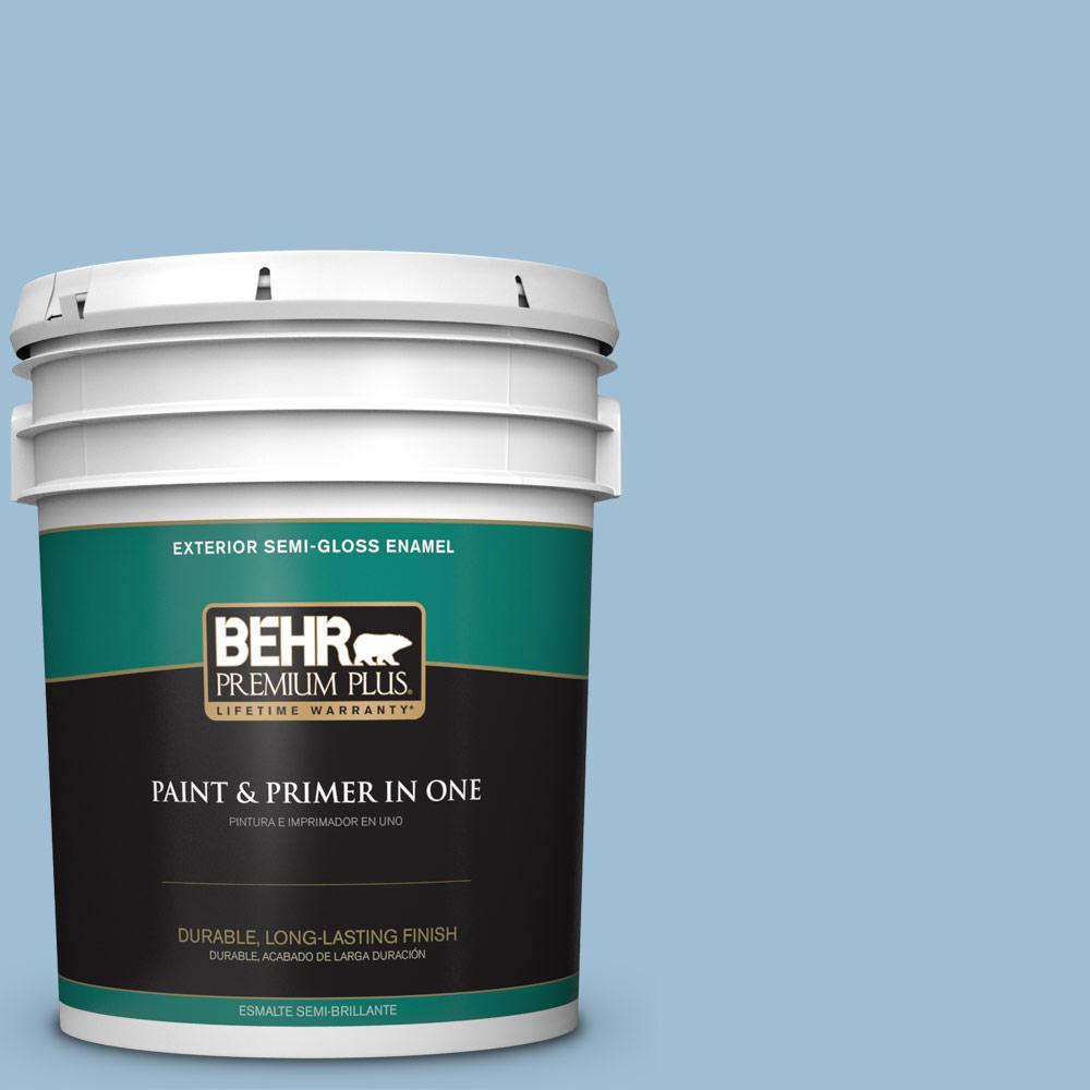 5 gal. #PPU14-11 Gentle Sky Semi-Gloss Enamel Exterior Paint