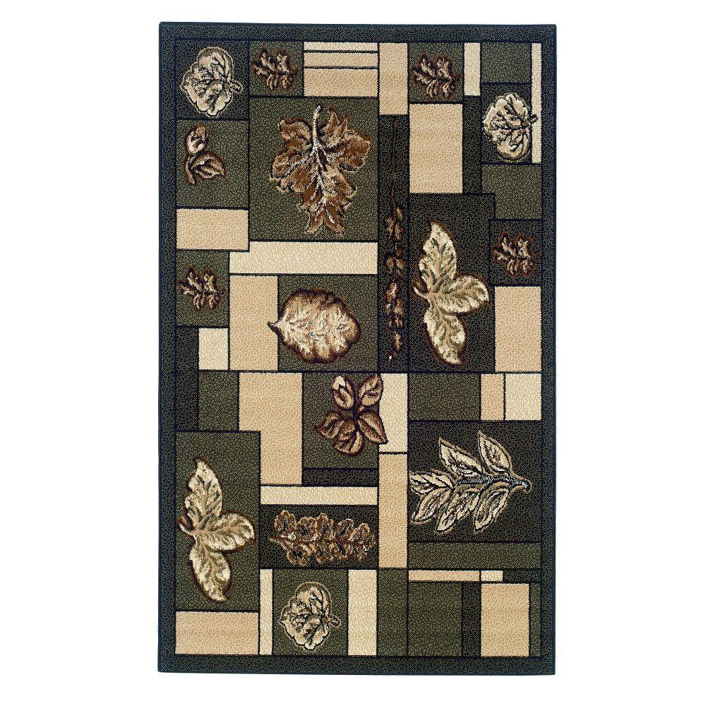Linon home decor capri collection green and brown 4 ft x for International home decor rugs