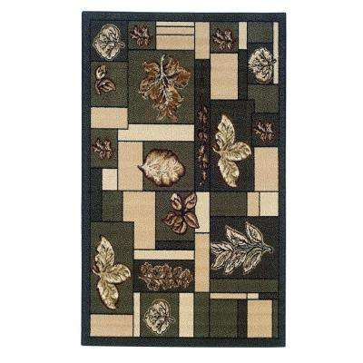 Capri Collection Green and Brown 4 ft. 3 in. x 7 ft. 3 in. Indoor Area Rug