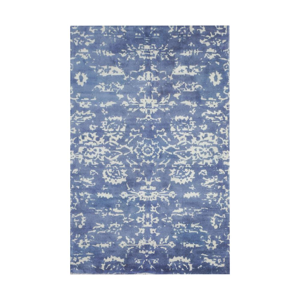 Titan lighting senneh blue and white printed 8 ft x 10 ft for Blue and white area rugs
