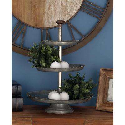 3-Tier Farmhouse Iron Cake Stand in Gray