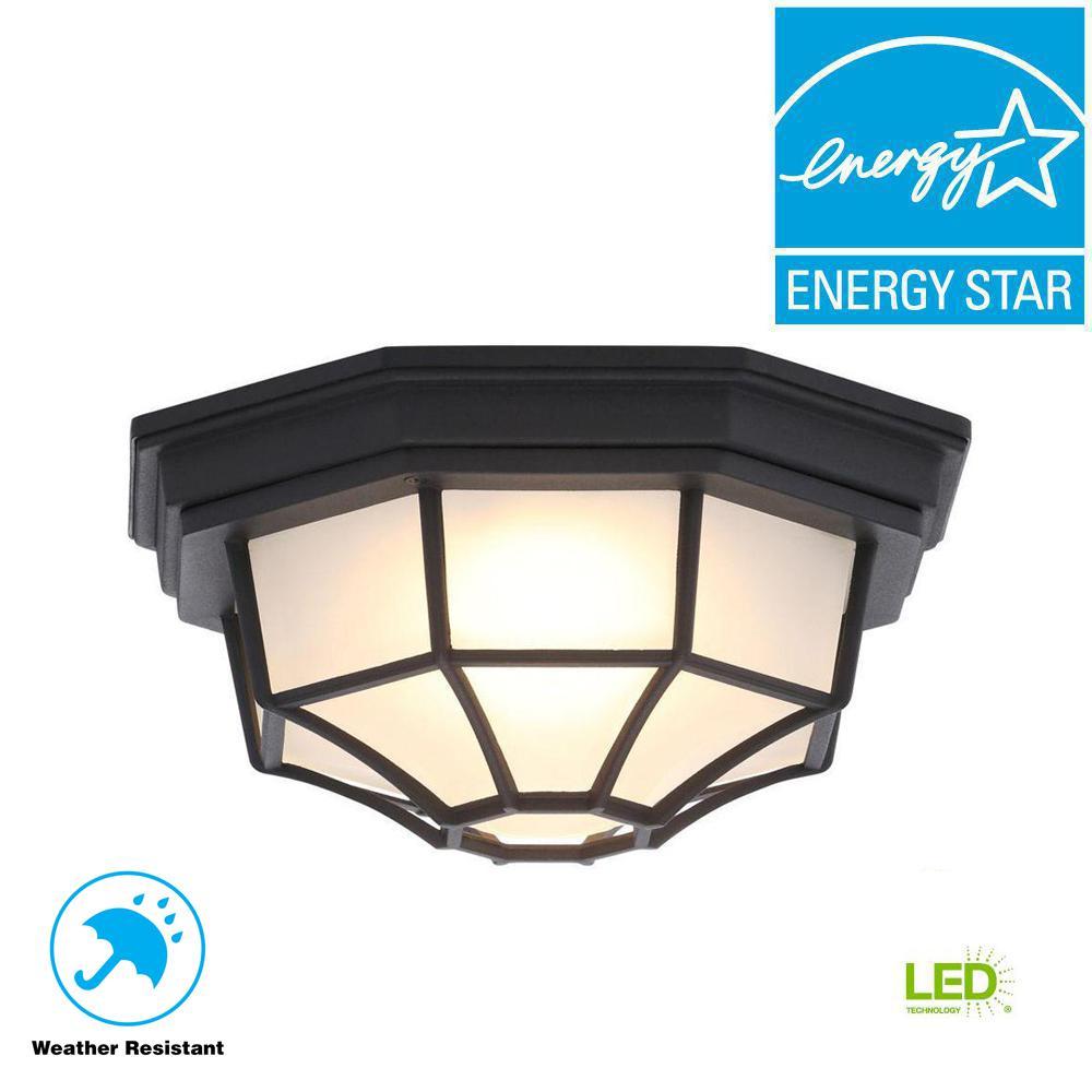 Black Outdoor LED Flushmount