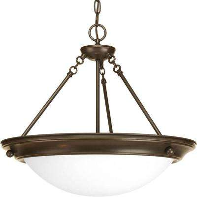 Eclipse Collection 3-Light Antique Bronze Foyer Pendant with Satin White Glass