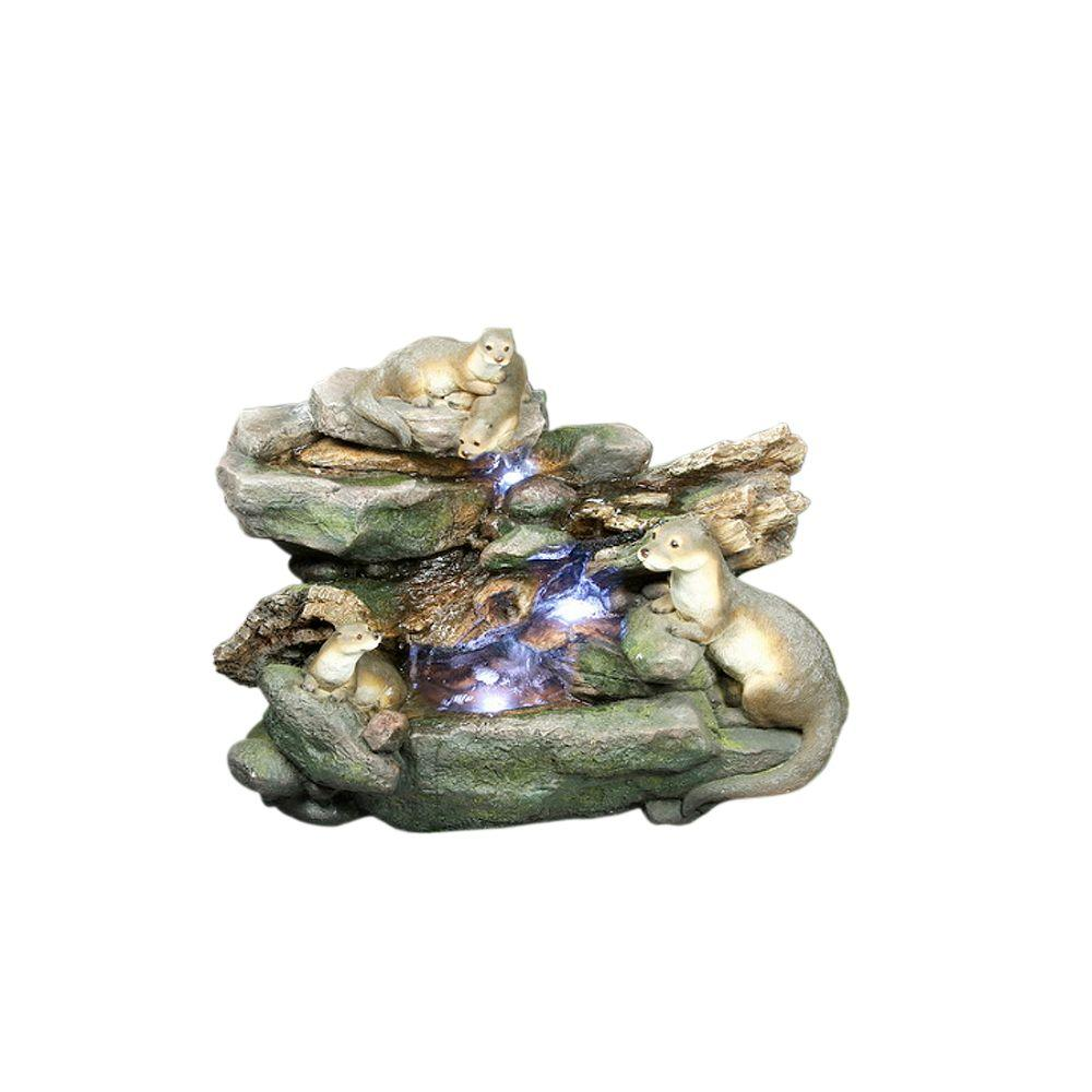 Design Toscano 32.8 in. W x 18 in. D x 24.6 in. H Four Playful Otters Garden Fountain-DISCONTINUED