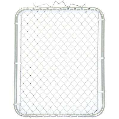 38 in. W x 48 in. H White PVC Coated Steel Bent Frame Walk-Through Chain Link Fence Gate