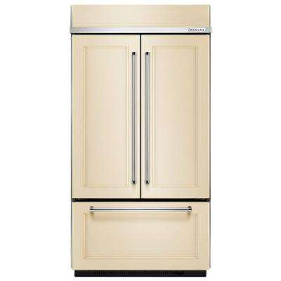 36 in. W 20.8 cu. ft. Built-In French Door Refrigerator in Panel Ready and Platinum Interior
