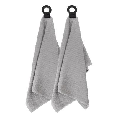 Hook and Hang Gray Woven Cotton Kitchen Towel (Set of 2)