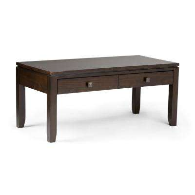 Cosmopolitan Solid Wood 42 in. Wide Contemporary Coffee Table in Coffee Brown