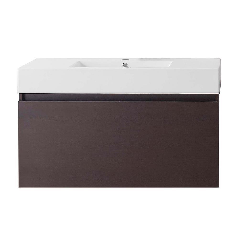 Virtu USA Zuri 40 in. W Bath Vanity in Wenge with Polymarble Vanity Top in White Polymarble with Square Basin