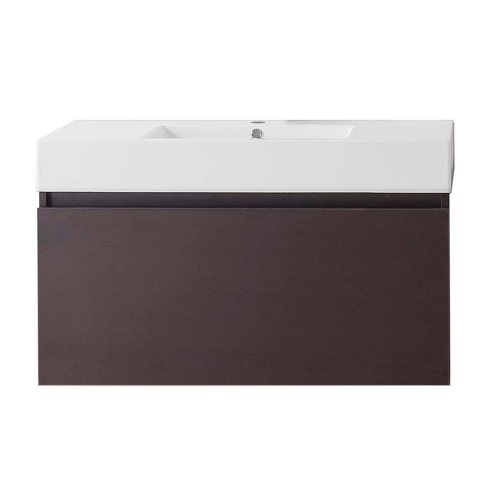Virtu USA Zuri 39.37 in. W Vanity in Wenge with Poly-Marble Vanity Top in White with White Basin