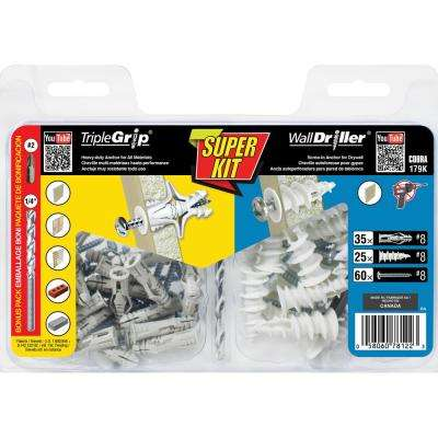 Super Kit Anchors TripleGrip #8 plus WallDriller Nylon #8
