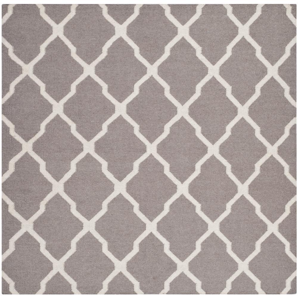 Safavieh Dhurries Dark Gray/Ivory 6 ft. x 6 ft. Square Area Rug