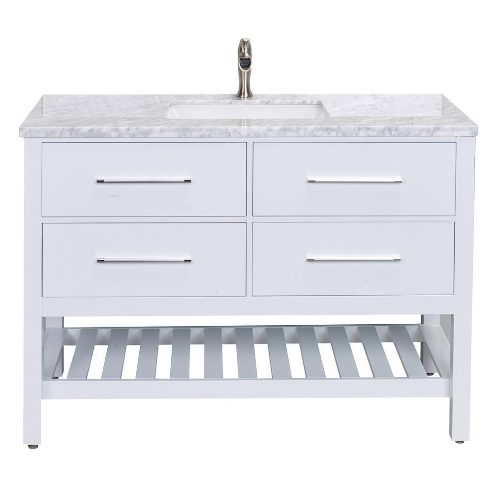Natalie 48 in. W x 22 in. D x 34 in. H Vanity in White with Carrera Marble Vanity Top in White with White Basin