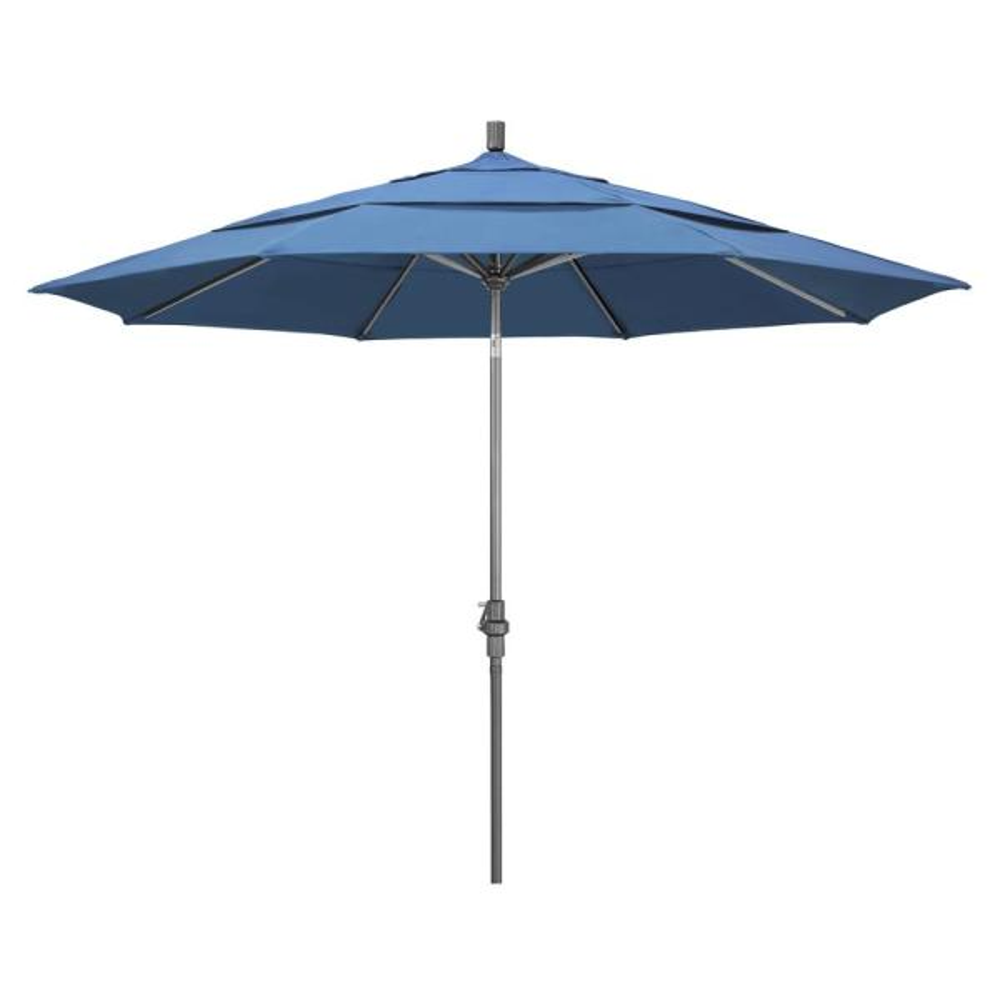 11 ft. Hammertone Grey Aluminum Market Patio Umbrella with Crank Lift in Frost Blue Olefin