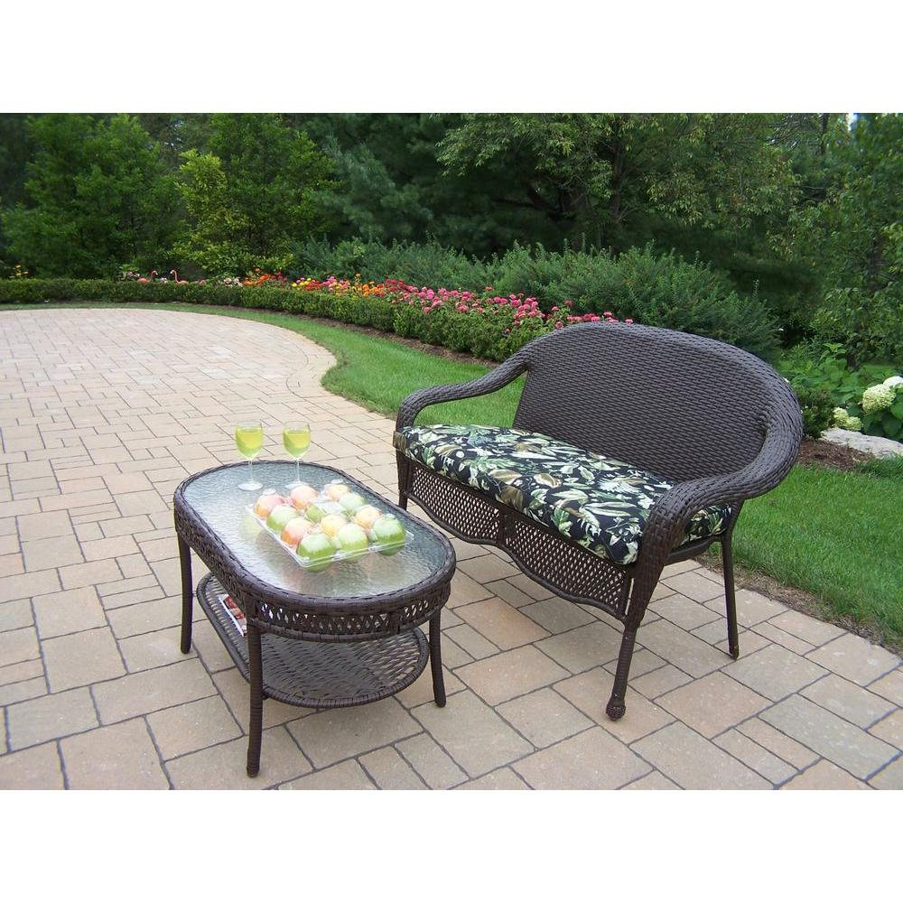 Oakland Living Elite Resin Wicker 2 Piece Patio Loveseat And Coffee Table Set With Fl