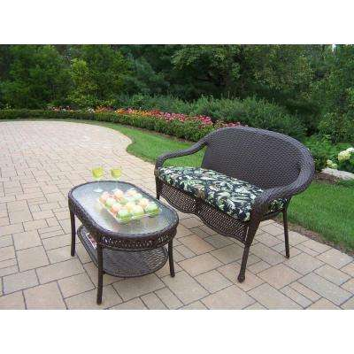 Elite Resin Wicker 2-Piece Patio Loveseat and Coffee Table Set with Floral Cushion