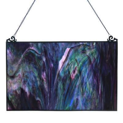 Blue and Purple Stained Glass Single Pane Window Panel
